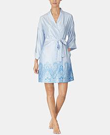 Lauren Ralph Lauren Border-Print Satin Wrap Robe
