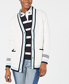 Tommy Hilfiger Cable-Knit V-Neck Cardigan, Created for Macy's