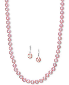 2-Pc. Set Pink Cultured Freshwater Pearl (7 & 9-1/2mm) Strand Necklace and Matching Drop Earrings in Sterling Silver