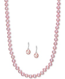 Cultured Freshwater Pearl Necklace (7-7 1/2mm) and Drop Earrings (7x9mm) Set in Sterling Silver (Also in Pink)