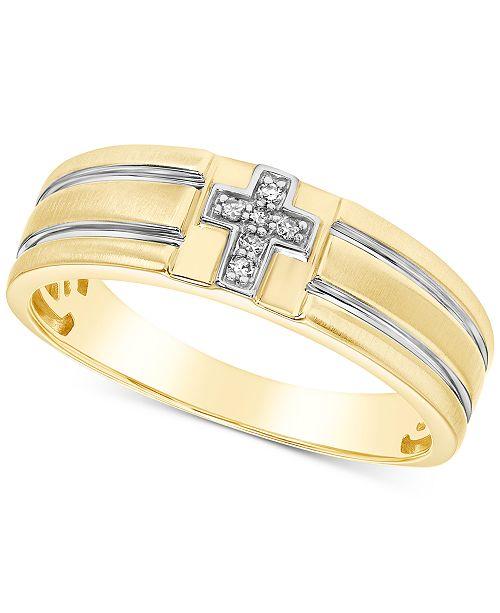 Macy's Men's Diamond Accent Cross Band in 10k Gold & White Gold