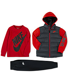 Nike Toddler Boys Quilted 2-in-1 Jacket, Futura-Print T-Shirt & Fleece Jogger Pants