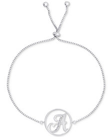 Diamond Accent Initial Bolo Bracelet in Silver-Plate