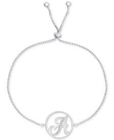 Diamond Accent Initial Bolo Bracelet in Silver-Plate
