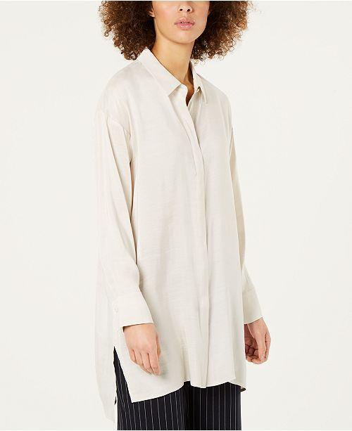 9da6e7e137a05 Eileen Fisher Silk Button-Front Shirt   Reviews - Tops - Women - Macy s