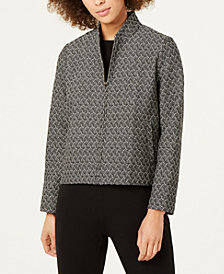 Eileen Fisher Recycled Cotton Printed Zip-Front Jacket
