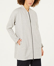 Eileen Fisher Cotton Terry Two-Way Zip-Front Flight Jacket, Regular & Petite