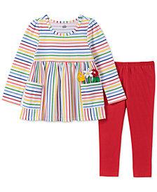 Kids Headquarters Baby Girls 2-Pc. Rainbow Stripe Tunic & Leggings Set