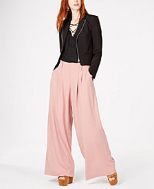 Bar III Blazer, Lace-Up Top & Wide-Leg Pants, Created for Macy's