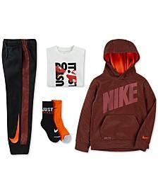 Nike Little Boys Mesh Logo Hoodie, Graphic-Print T-Shirt, Jogger Pants & 2-Pk. Dri-FIT Quarter Socks