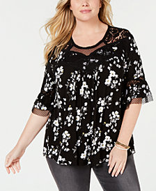 Eyeshadow Trendy Plus Size Printed Lace-Trim Top