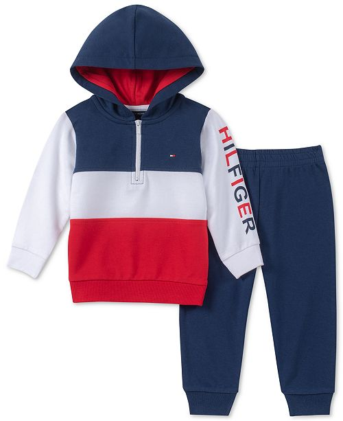 7a1b3e7d4faa8 Tommy Hilfiger Baby Boys 2-Pc. Colorblocked Hoodie   Jogger Pants ...