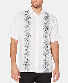 Cubavera Men's Big & Tall Floral-Print Stripe Short-Sleeve Linen Shirt