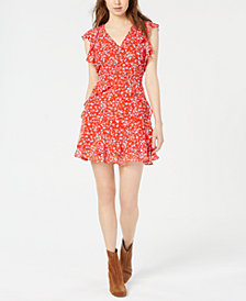 Bar III Floral-Print Ruffled Dress, Created for Macy's