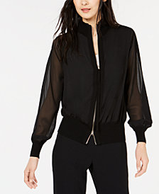 Marella Sheer-Sleeve Bomber Jacket