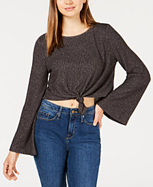 Hippie Rose Juniors' Knot-Front Ribbed Top