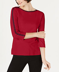 Charter Club Cotton Contrast-Stripe 3/4-Sleeve Top, Created for Macy's
