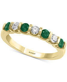 EFFY® Emerald (3/8 ct. t.w.) & Diamond (1/4 ct. t.w.) Band in 14k Gold