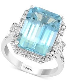 EFFY® Aquamarine (6-7/8 ct. t.w.) & Diamond (1/2 ct. t.w.) Ring in 14k White Gold