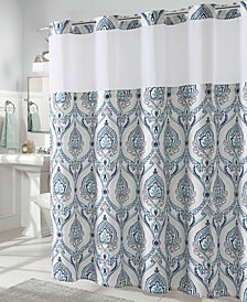 Hookless French Damask Print 3-in-1 Shower Curtain