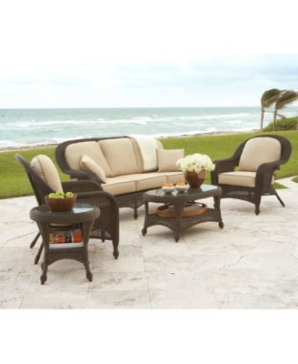 Monterey Outdoor Wicker 4-Pc. Seating Set with Sunbrella® Cushions (1 Sofa, 2 Club Chairs and 1 Coffee Table), with Created for Macy's