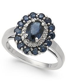 Sapphire (2-1/8 ct. t.w.) & Diamond (1/6 ct. t.w.) Ring in 14k White Gold