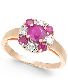 Ruby (1-1/10 ct. t.w.) & Diamond (1/6 ct .t.w.) in 14k Rose Gold