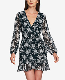 1.STATE Long-Sleeve Floral Wrap Dress