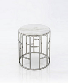 Modrest Silvan Modern Marble and Stainless Steel End Table