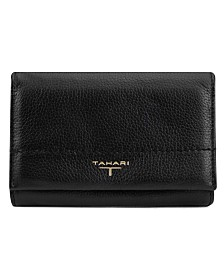 T Tahari Flap Leather Indexer