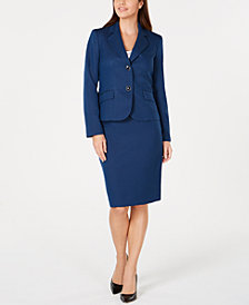 Le Suit Petite Three-Button Skirt Suit