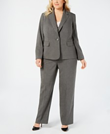 Le Suit Plus Size Pinstriped Pant Suit