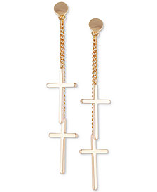GUESS Chain & Cross Front-and-Back Earrings