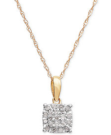 "Diamond Cluster 18"" Pendant Necklace (1/10 ct. t.w.) in 10k Gold"