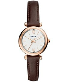 Women's Mini Carlie Brown Leather Strap Watch 28mm