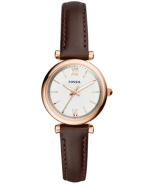 Fossil WOMEN'S MINI CARLIE BROWN LEATHER STRAP WATCH 28MM