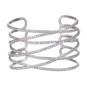 Overlapping Sculptural Cuff Bracelet in Rhodium