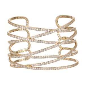 Overlapping Sculptural Cuff Bracelet in Gold