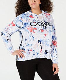 Calvin Klein Performance Plus Size Metallic-Logo Varsity Stripe Hoodie