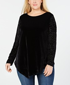 Seven7 Jeans Plus Size Burnout Velvet Top
