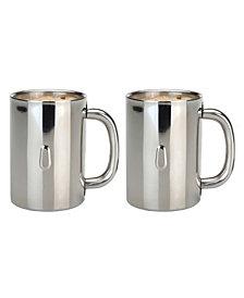 BergHOFF Stainless Steel 12-Oz. Coffee Mugs, Set of 2