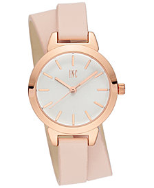 I.N.C. Women's Blush Faux Leather Double Wrap Strap Watch 30mm, Created for Macy's