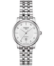 Tissot Women's Swiss Automatic T-Classic Carson Diamond-Accent Stainless Steel Bracelet Watch 30mm
