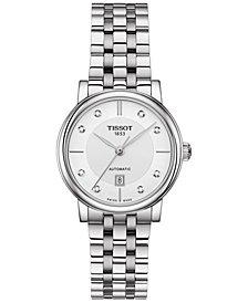 Tissot Women's Swiss Automatic T-Classic Carson Diamond-Accent Stainless Steel Bracelet Watch 30mm