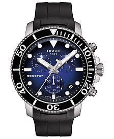 Tissot Men's Swiss Chronograph Seastar 1000 Black Rubber Strap Watch 45.5mm