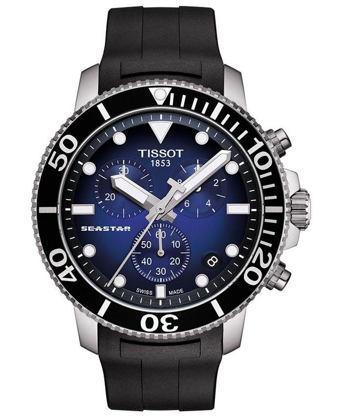 Tissot - Men's Swiss Chronograph Seastar 1000 Black Rubber Strap Watch 45.5mm