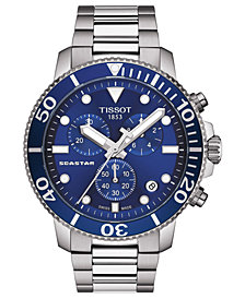 Tissot Men's Swiss Chronograph Seastar 1000 Stainless Steel Bracelet Watch 45.5mm