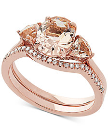 Love Rocks Bridal Morganite (2 1/6 ct.t.w) & Diamond Accent Bridal Set in 14k Rose Gold