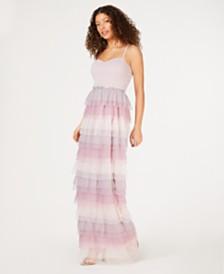 BCX Juniors' Rhinestone Tiered Dress