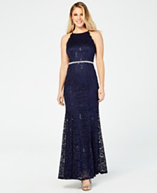 BCX Juniors' Rhinestone Sequined Lace Gown